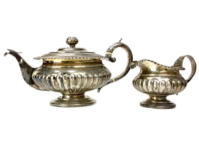 Lot 418-A GEORGE III SILVER TEAPOT AND CREAMER