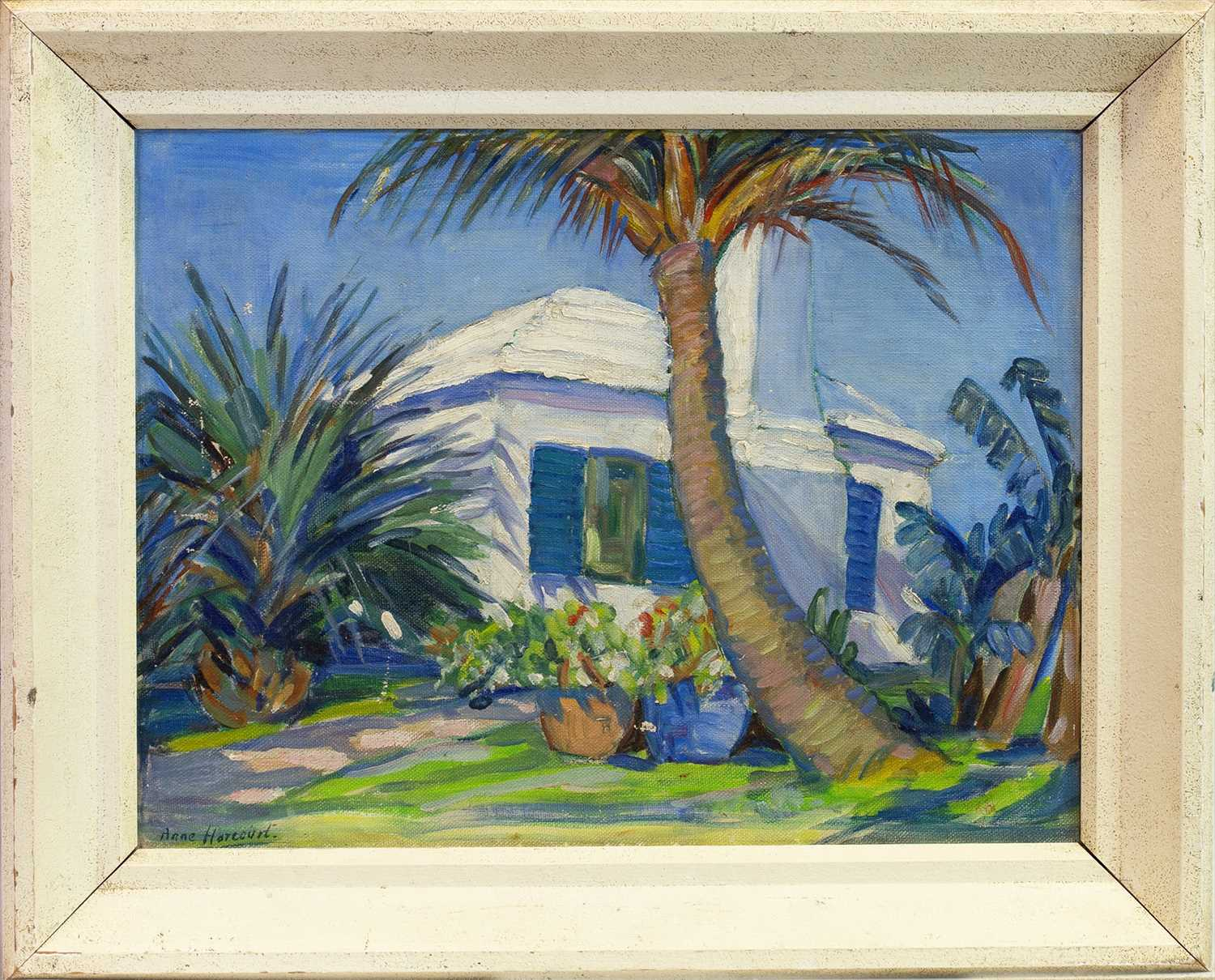 Lot 411-THE VILLA, AN OIL BY ANNE HARCOURT