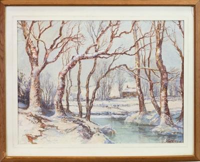 Lot 415-WINTER WOODLAND SCENE, A WATERCOLOUR BY JOHN WILSON