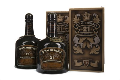 Lot 408-TWO BOTTLES OF ROYAL HERITAGE 21 YEARS OLD