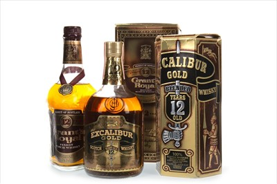 Lot 409-EXCALIBUR GOLD 12 YEARS OLD AND GRANT'S ROYAL 12 YEARS OLD