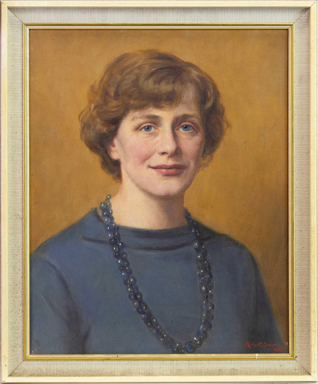 Lot 417-PORTRAIT OF A WOMAN, AN OIL BY ROBERT JOHN SWAN