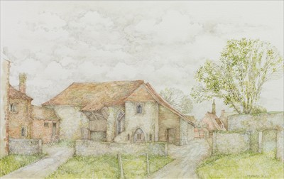 Lot 418-OLD FARM HOUSE, KENT, A WATERCOLOUR BY ANNA DUDLEY NEILL