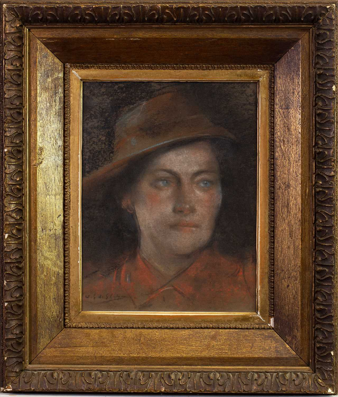Lot 421-PORTRAIT OF A YOUNG GIRL, A PASTEL BY WILFRED GABRIEL DE GLEHN