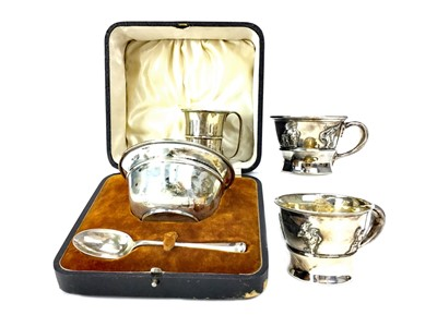 Lot 425-A CASED EARLY 20TH CENTURY PORRINGER SET ALONG WITH THREE SILVER CUPS