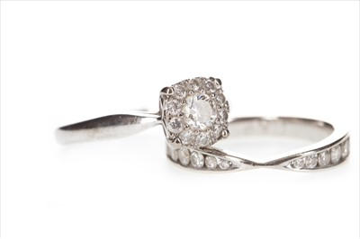 Lot 336 - A DIAMOND CLUSTER RING AND A DIAMOND SET BAND