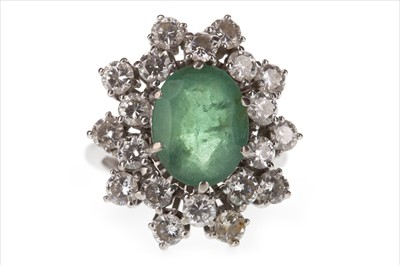 Lot 341 - A GREEN GEM AND DIAMOND CLUSTER RING