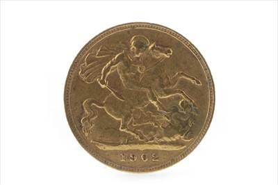 Lot 28-A GOLD HALF SOVEREIGN, 1902