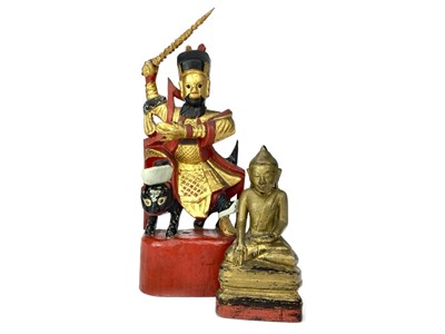 Lot 726-A CHINESE PAINTED AND GILDED WOOD WARRIOR AND A BUDDHA