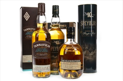 Lot 344-SPEYBURN 10 YEARS OLD, TAMNAVULIN DOUBLE CASK AND GLENROTHES SELECT RESERVE