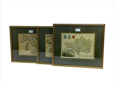 Lot 1331-A LOT OF THREE SMALL HAND COLOURED MAPS