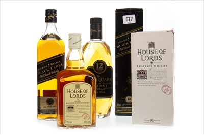 Lot 414-ANTIQUARY 12 YEARS OLD, HOUSE OF LORDS, AND JOHNNIE WALKER BLACK LABEL 12 YEARS OLD
