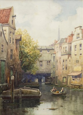 Lot 427-ROWING BOAT ON A DUTCH CANAL, A WATERCOLOUR BY JAMES ROBERTSON MILLER