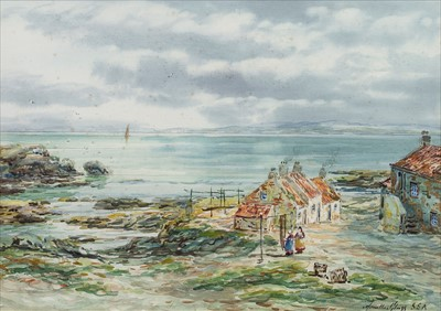 Lot 426-ACROSS THE FIRTH OF FORTH FROM DYSART, A WATERCOLOUR BY JOHN HAMILTON GLASS