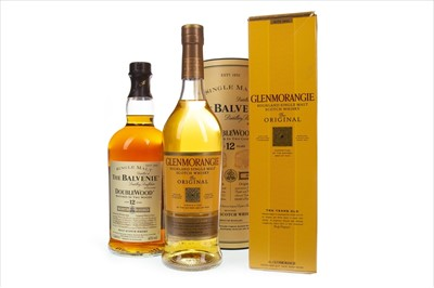 Lot 349-GLENMORANGIE 10 YEARS OLD AND ONE LITRE OF BALVENIE DOUBLEWOOD