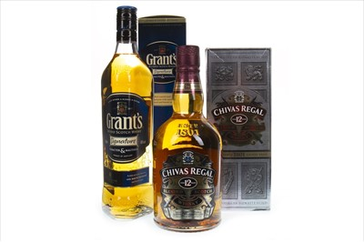 Lot 416-CHIVAS REGAL 12 YEARS OLD AND GRANTS SIGNATURE