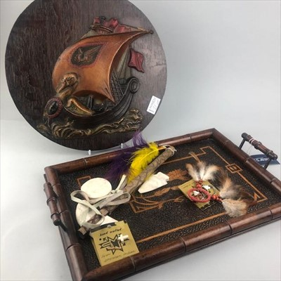 Lot 21-A POKERWORK TRAY, PLAQUE AND AMERICAN ARTEFACTS