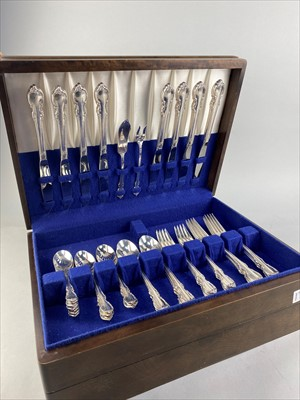 Lot 22-A CANTEEN OF PLATED CUTLERY ALONG WITH OTHER CASED FLATWARE
