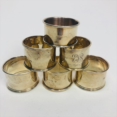 Lot 2-A LOT OF SIX SILVER NAPKIN RINGS