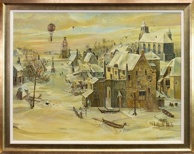 Lot 520-WINTER IS COMING, AN OIL BY EDWARD CHISNALL