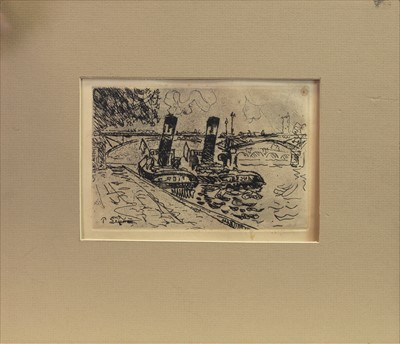 Lot 423-TUGBOATS, AN ETCHING BY PAUL SIGNAC