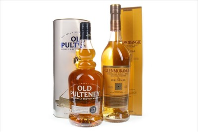 Lot 351-GLENMORANGIE 10 YEARS OLD AND OLD PULTENEY 12 YEARS OLD