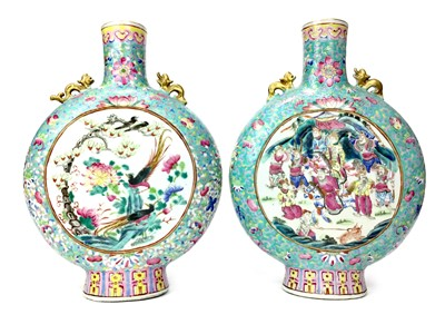 Lot 708-A PAIR OF EARLY 20TH CENTURY CHINESE MOON FLASK VASES