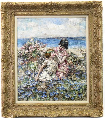 Lot 42-THE GREEN RIBBON, AN OIL BY EDWARD ATKINSON HORNEL