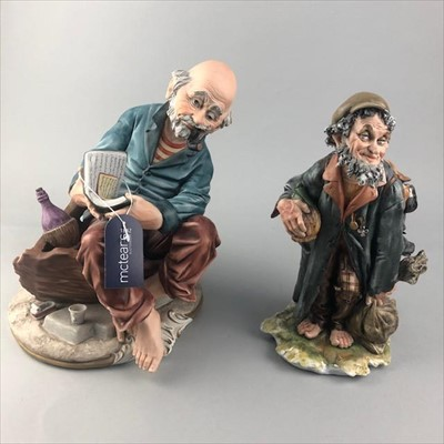 Lot 11-A LOT OF TWO FIGURES OF TRAMPS ALONG WITH A DOULTON FIGURE AND OTHER CERAMICS