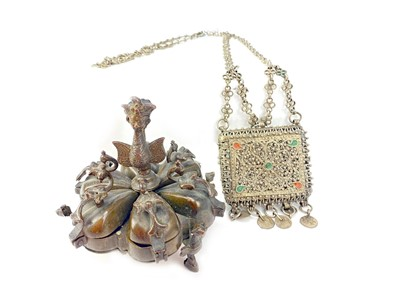 Lot 713-AN EASTERN BRONZE SPICE BOX AND A FILIGREE PURSE