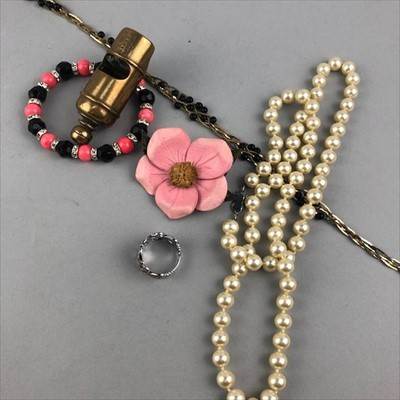 Lot 14-A LOT OF 20TH CENTURY COSTUME JEWELLERY AND WHISTLE
