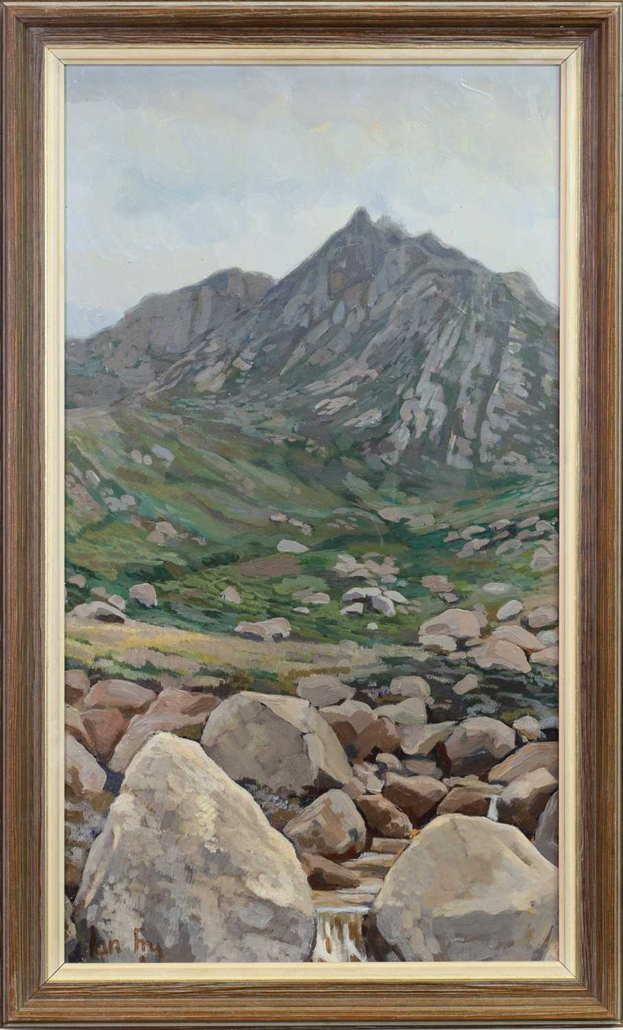 Lot 428-ROCKY LANDSCAPE, AN OIL BY IAN FRY