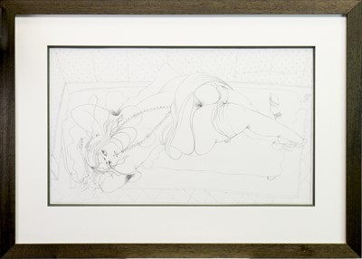 Lot 537-MR LAUTREC IS COMING, A PENCIL SKETCH BY JAMES MCNAUGHT