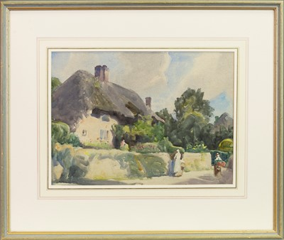Lot 437-FIGURES BY A THATCHED COTTAGE, A WATERCOLOUR BY FREDERICK STRATTON