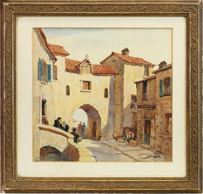 Lot 438-ITALIAN COASTAL VILLAGE SCENE, A WATERCOLOUR IN THE STYLE OF SIR ERNEST DARYL LINDSAY