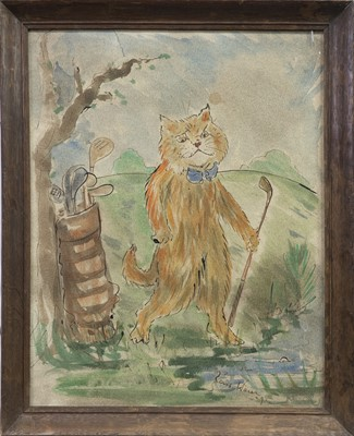 Lot 16-CAT PLAYING GOLF, A WATERCOLOUR AFTER LOUIS WAIN