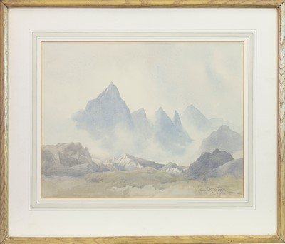 Lot 445-MISTY MOUNTAINS, A WATERCOLOUR BY CYRIL BOLER