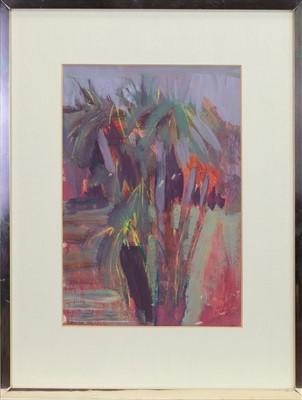 Lot 468-PALM TREES, CULZEAN, A MIXED MEDIA BY IRENE LESLEY MAIN
