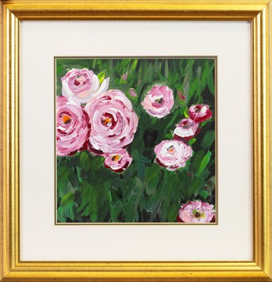 Lot 450-PINK ROSES, AN OIL BY L D JAMIESON
