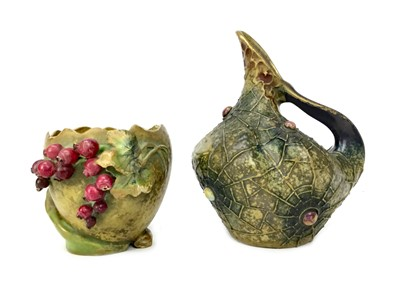 Lot 1017-AN EARTHENWARE PITCHER AND AN AUSTRIAN AMPHORA VASE