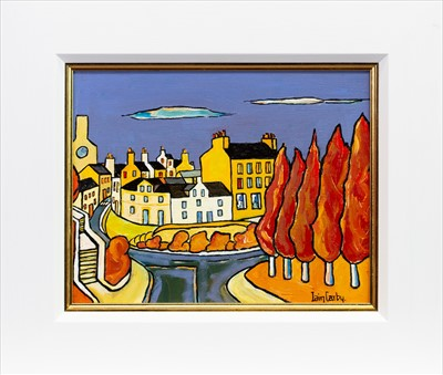 Lot 585-THE TOWN SQUARE, BEITH, AN OIL BY IAIN CARBY