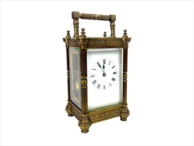Lot 1101-AN EARLY 20TH CENTURY BRASS REPEATER CARRIAGE CLOCK