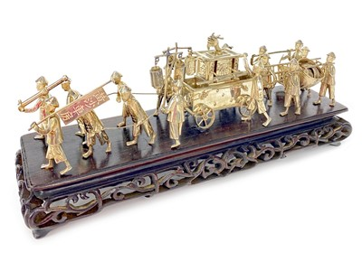 Lot 720-A CHINESE WHITE METAL PROCESSIONAL FIGURE GROUP