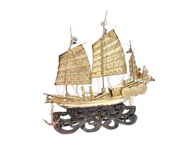 Lot 723-A CHINESE WHITE METAL MODEL OF A JUNK