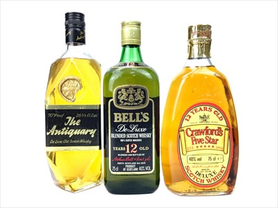 Lot 431-CRAWFORD'S FIVE STAR, ANTIQUARY AND BELL'S 12 YEARS OLD