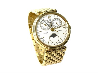 Lot 840 - A GENTLEMAN'S CYMA GOLD PLATED AUTOMATIC WATCH