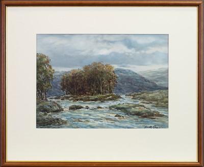 Lot 460-HIGHLAND RIVER SCENE, A WATERCOLOUR BY JOHN HAMILTON GLASS