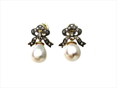 Lot 1348-A PAIR OF PEARL AND DIAMOND EARRINGS