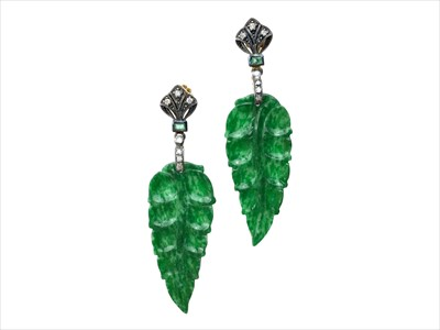 Lot 1343-A PAIR OF JADE AND DIAMOND EARRINGS