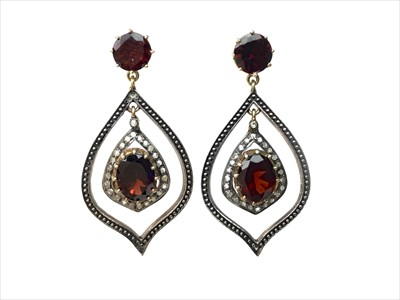 Lot 1344-A PAIR OF GOLD PLATED GARNET AND DIAMOND EARRINGS